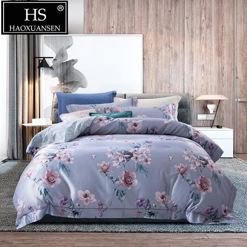 Großhandel Hs Grau Blau 4 Stücke 3d Bettwäsche Sets Kamelie Muster