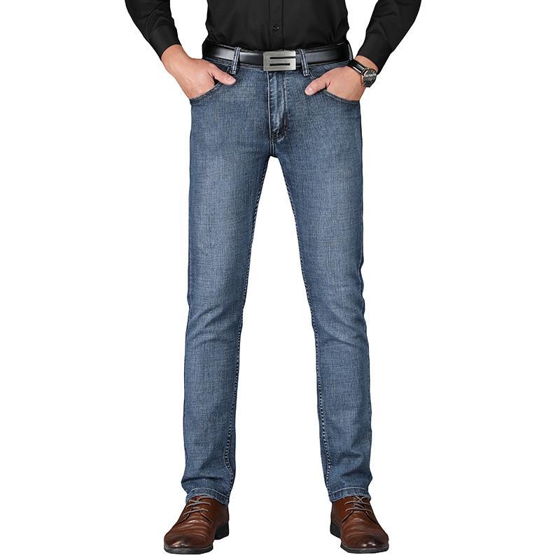 9230e5c3af Compre SULEE Marca 2019 Hombres Algodón Pantalones Vaqueros Clásicos Rectos  Primavera Otoño Pantalones De Mezclilla Masculinos Monos Diseñador Hombres  Jeans ...