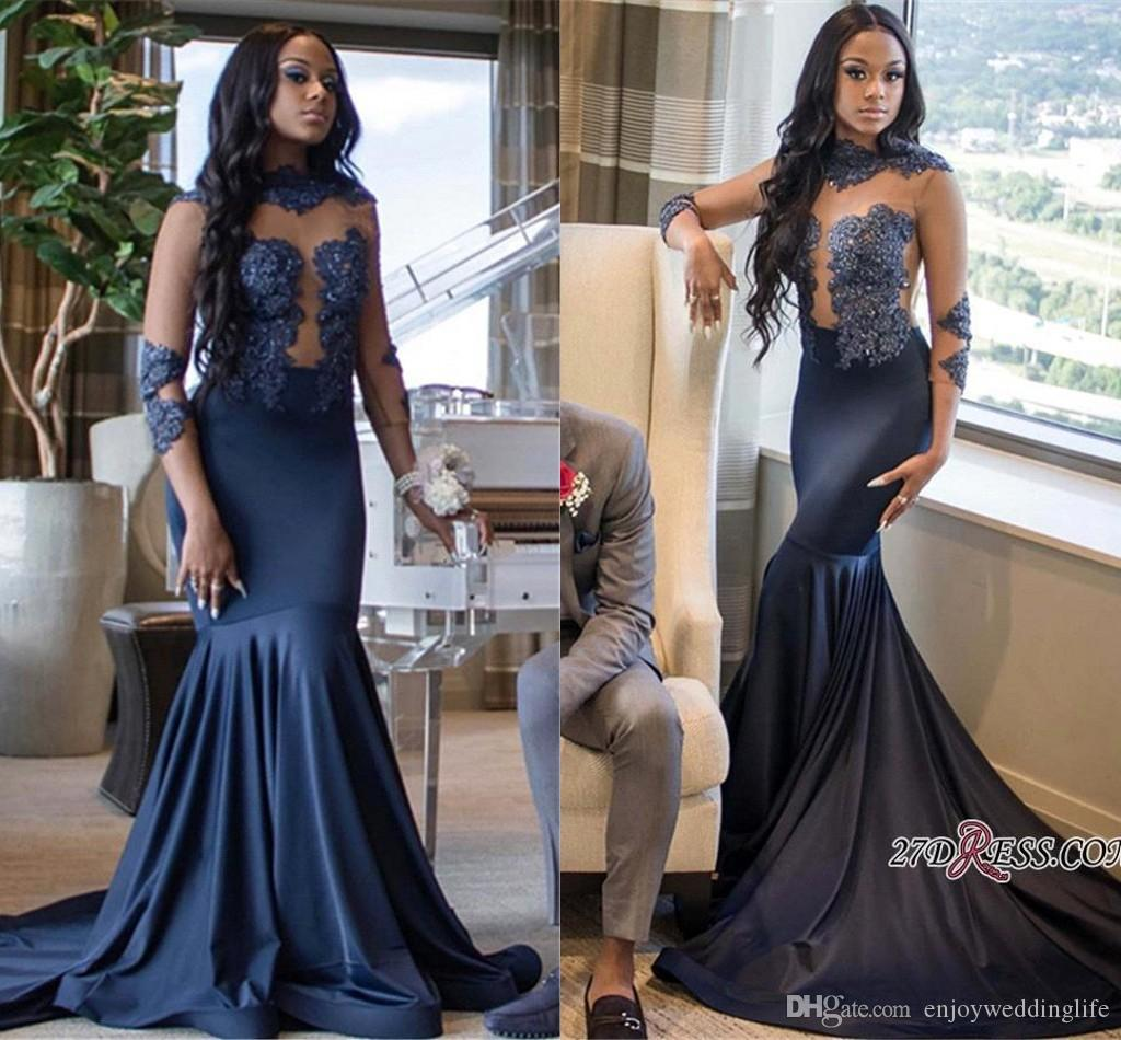 7e6751c067d Navy Blue Illusion Bodices Mermaid Prom Dresses High Neck Sheer Long  Sleeves Lace Appliqued Satin Formal Party Evening Gowns African Prom Dresses  Plus Size ...