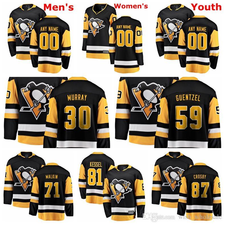 size 40 98b49 f9fae Pittsburgh Penguins Jerseys Crosby Jersey Phil Kessel Evgeni Malkin Matt  Murray Jake Guentzel Black White Hockey Jerseys Custom Stitched