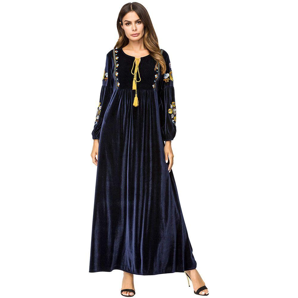 187234 Simple Kaftans Embroidery Korean Velvet Stitching Dress Baju Muslim Long Sleeved Robes Moslemi Naiste Kleit Vestido De Mujer Musulman