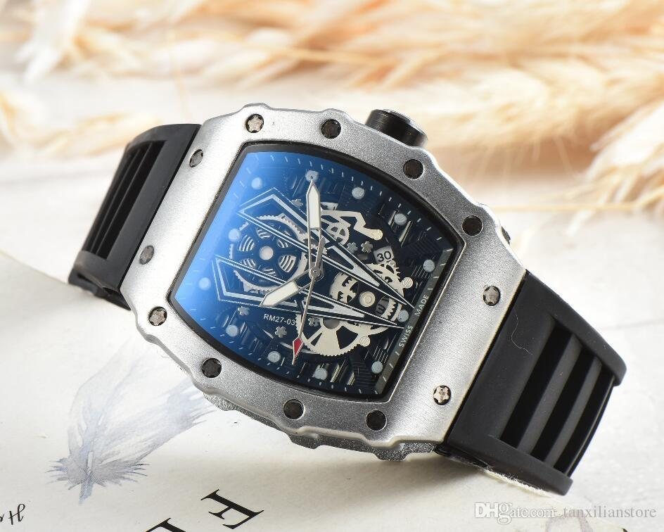 2020 R-CHARD Brand Luxury Skull sport Watches men Casual Fashion Skeleton quartz watch free shipping