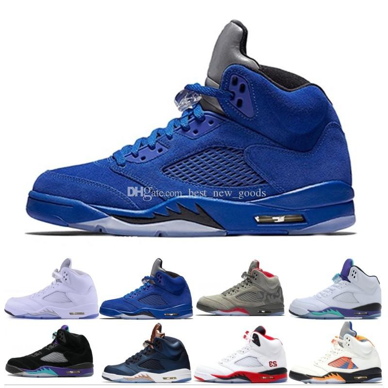 a6d12d0fc4c1 2019 New 5 5s Men Basketball Shoes Premium Bordeaux Red Blue Suede Heiress  Camo Grey OG Black Metallic Gold White Grapes Cement Sports Sneaker From ...
