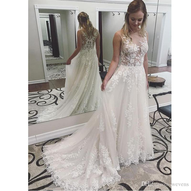 d8e2ed9aa4e Stylish Illusion Top Garden Wedding Dresses Jewel Neck A-line Lace  Appliques with Bead Country Robe De Mariee Tulle Sweep Train Bridal Dress  Bohemian ...