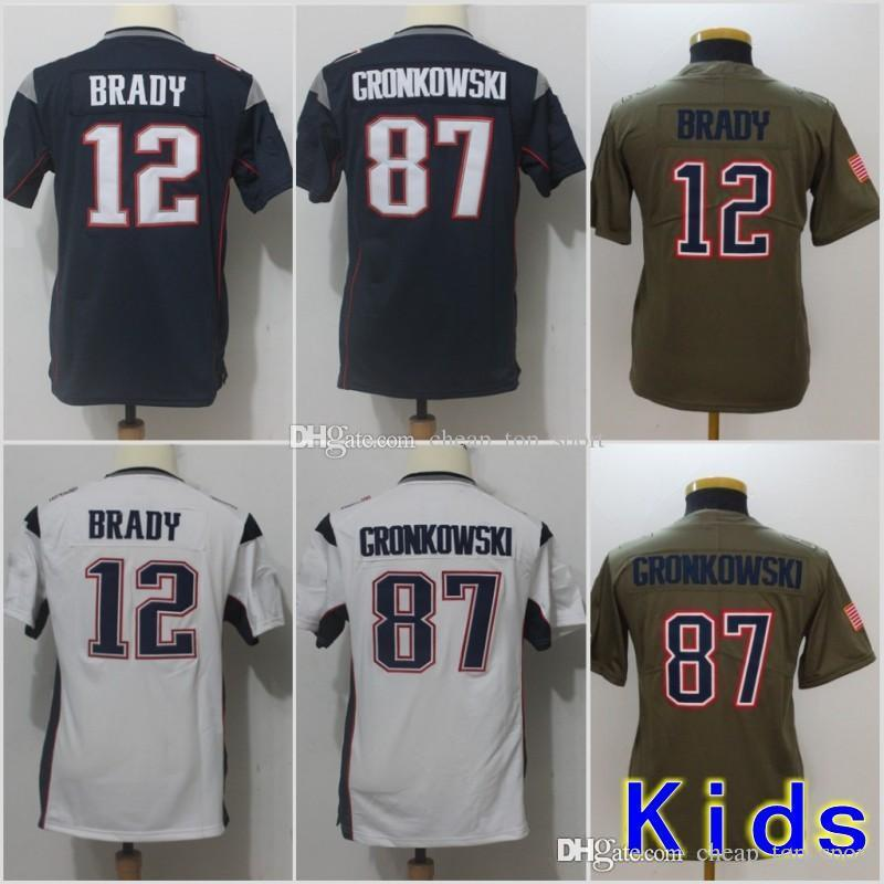 first rate f2041 99768 Youth New Jerseys 12 Tom Brady Patriots 87 Rob Gronkowski Blue White Grey  Salute to Service Limited Stitched Kids Size S-XL