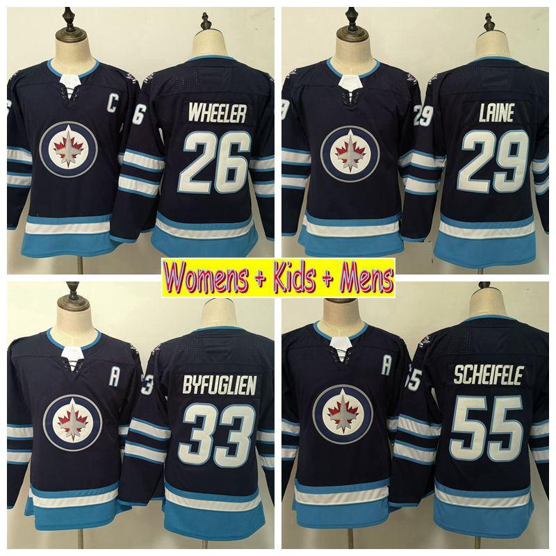 48d1b608ca1 2019 2019 Ladies Winnipeg Jets Hockey Jersey 29 Patrik Laine 26 Blake  Wheeler 55 Mark Scheifele Dustin Byfugliens Kids Womens Mens Stitched Shirt  From ...
