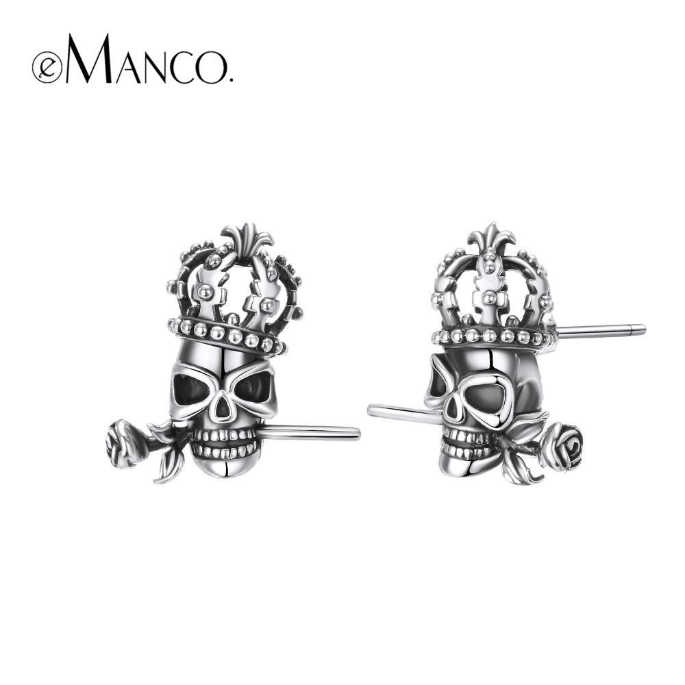 e-Manco 925 Sterling Silver Stud Crown Skull Earrings Vintage Party Unisex  Prevent Allergy Rose Earrings New