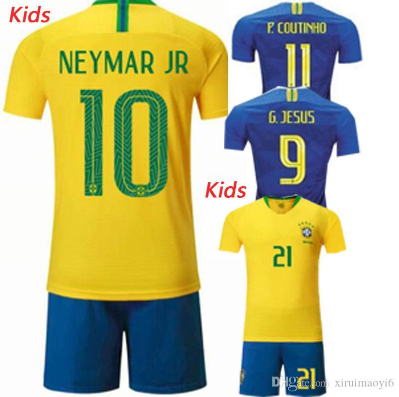 2019 2018 World Cup  10 NEYMAR JR Coutinho Gesus Firmino Boys Soccer  Jerseys Brazil Futbol Camisa Brasil Football Camisetas Shirt Kit Maillot  From ... fb980def8