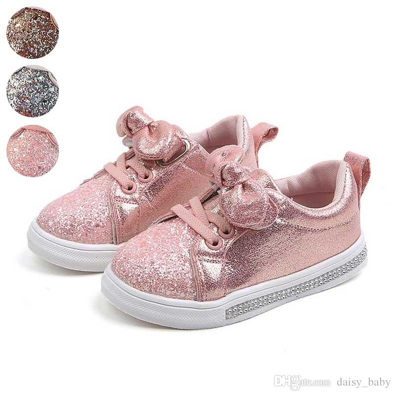 600b88f3c2 Pink Sneakers kids Spring 2019 Baby Children s Skate Shoes  Butterfly-knotted Girls Sequined Casual Shoes Gold Silver #1