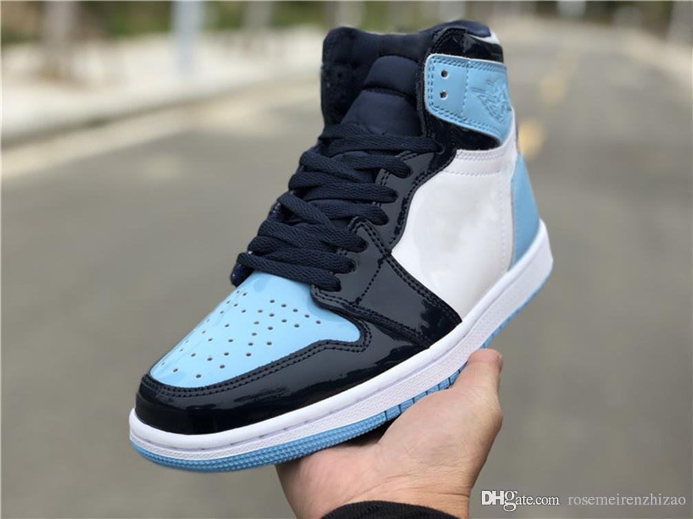 a72a97ccf86 2019 Release High 1 OG Retro WMNS ASG UNC Patent Basketball Shoes Mans  Obsidian Blue Chill White 1S Sports Boots Retro Sneakers CD0461-401