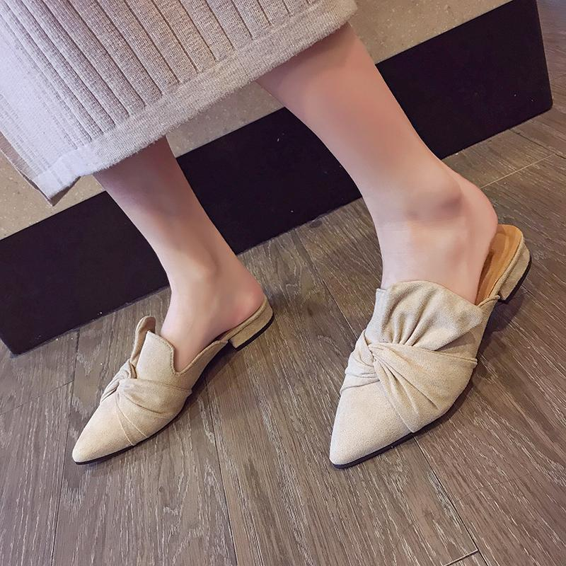 2019Women Slippers Flock Bowtie Damen Pantoffeln Fashion Low Heels Schuhe Spitz Damen Plus Size Elegant Woman Slipper