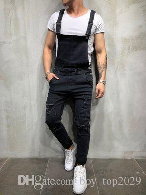 e947eb0302d37 Compre Trajes De Mezclilla CALIENTE Para Hombre Tirantes Pantalones  Vaqueros De Comercio Exterior Para Hombres Pantalones Nuevos Versión  Coreana Del Mono ...