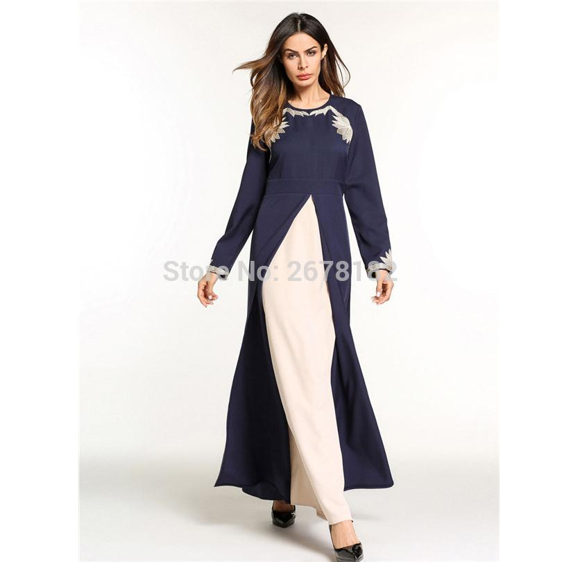 Dark Blue Embroidery Flower Anarkali Frocks Gowns,Muslim Evening Dress Dubai Party Dresses Arab Turkish Muslims Hui Minority