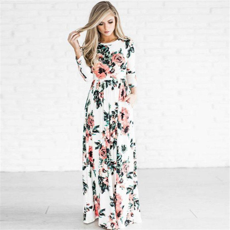 79f191c97e1 S 3xl Women Floral Long Dress Boho Maxi Dresses Flowers Printed 3 4 Sleeve  Evening Party Gown Spring Summer Sundress Beach Travel Wear C3211 White ...
