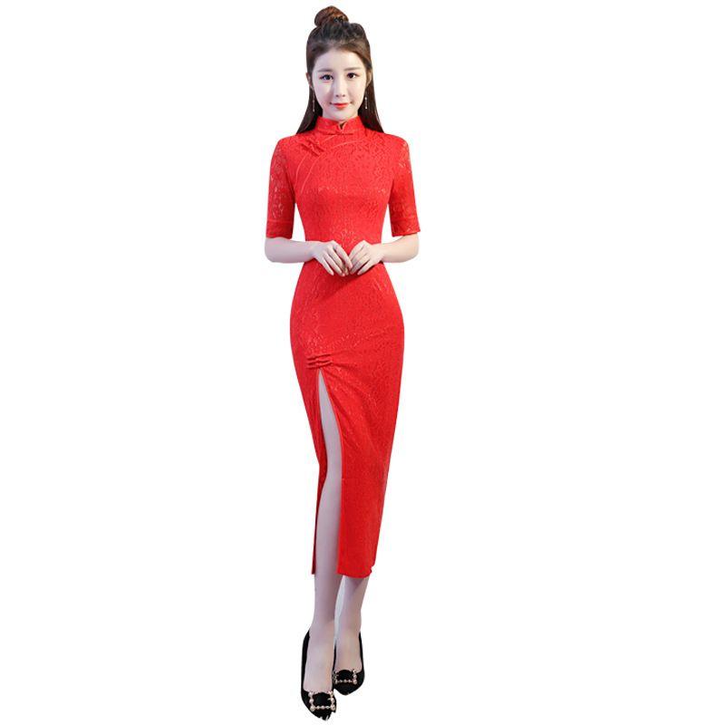e5a452e28a3 Vintage Red Slim Women Qipao Mandarin Collar Handmade Button Cheongsam  Novelty Chinese Formal Print Dress Size S M L XL XXL Black Prom Dresses  Bridesmaid ...