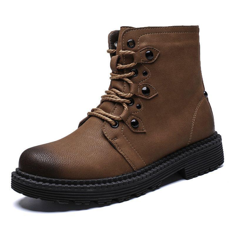 c91d45b64f0 Compre 2019Botas De Invierno Para Hombre Zapatos De Estilo Vintage Para  Hombre Moda Casual Con Cordones Cálidos Botines Zapatos De Caña Alta Hombres  Botas ...