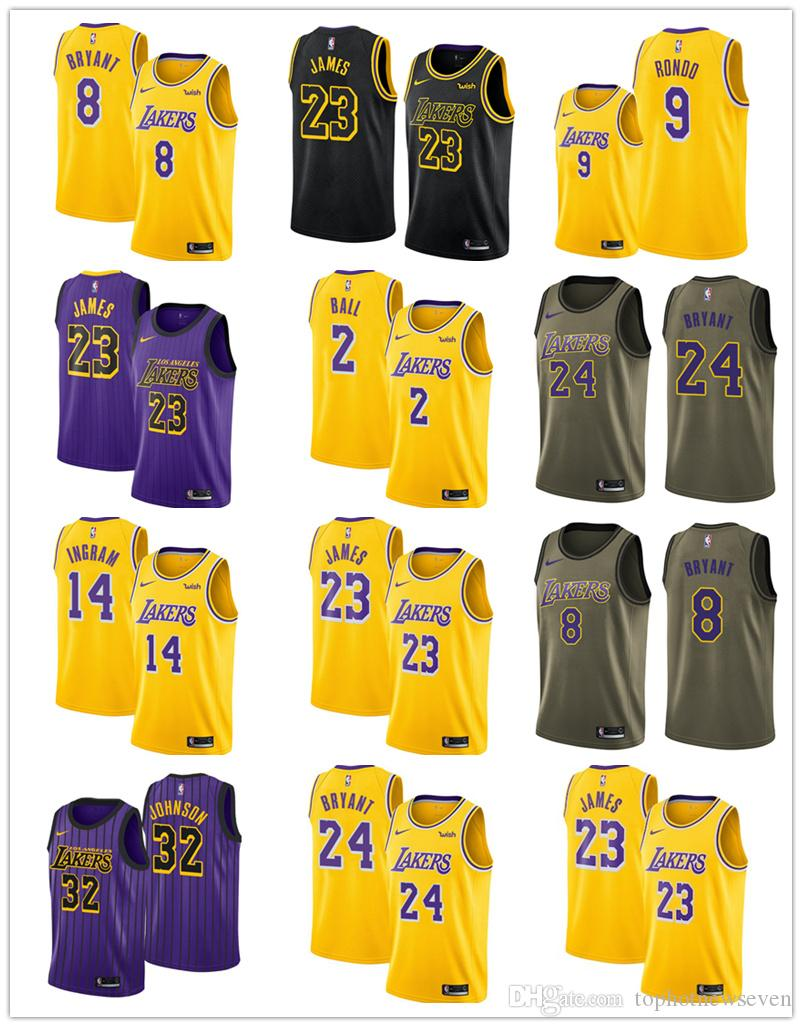 newest 103cd b118e 2018/19 Los Angeles LeBron James Kobe Bryant Lakers Swingman basketball  VaporKnit Authentic Jersey City Edition