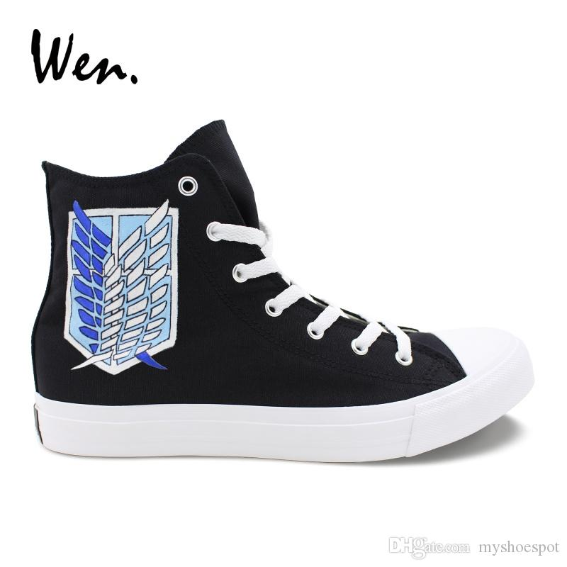 Wen Custom Hand Painted Shoes Attack On Titan Scout Legion Military ... 528819094