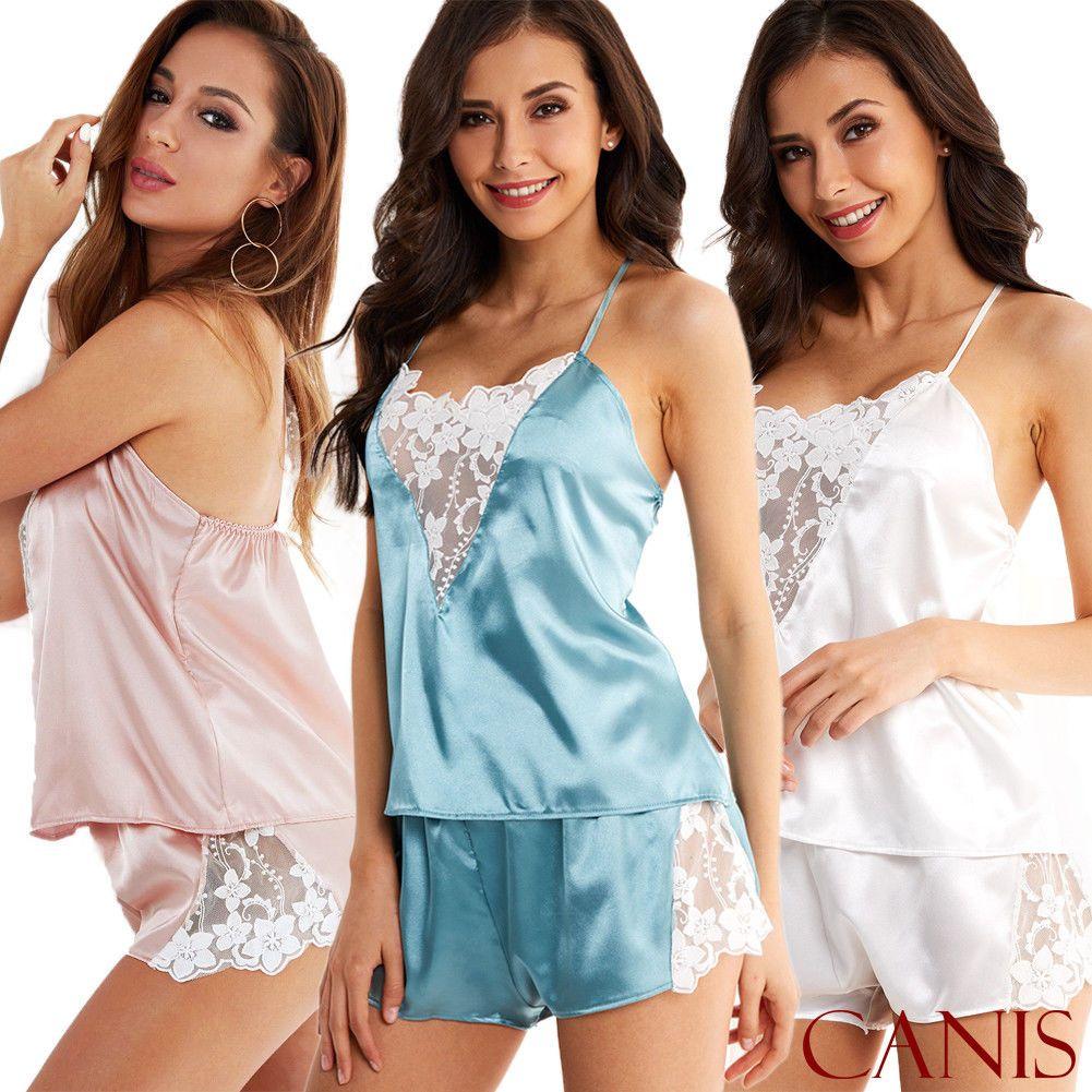 a70313f091 Fashion Women Sexy Satin Lace Sleepwear Babydoll Lingerie Nightdress  Pajamas Set UK 2019 From Adeir