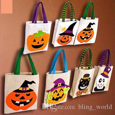 Halloween Candy Handbag Pumpkin Handbag Children Gift Bag Gifts Sack Bags Organizer Bag Pouch Halloween Party Supply Prop YFA449