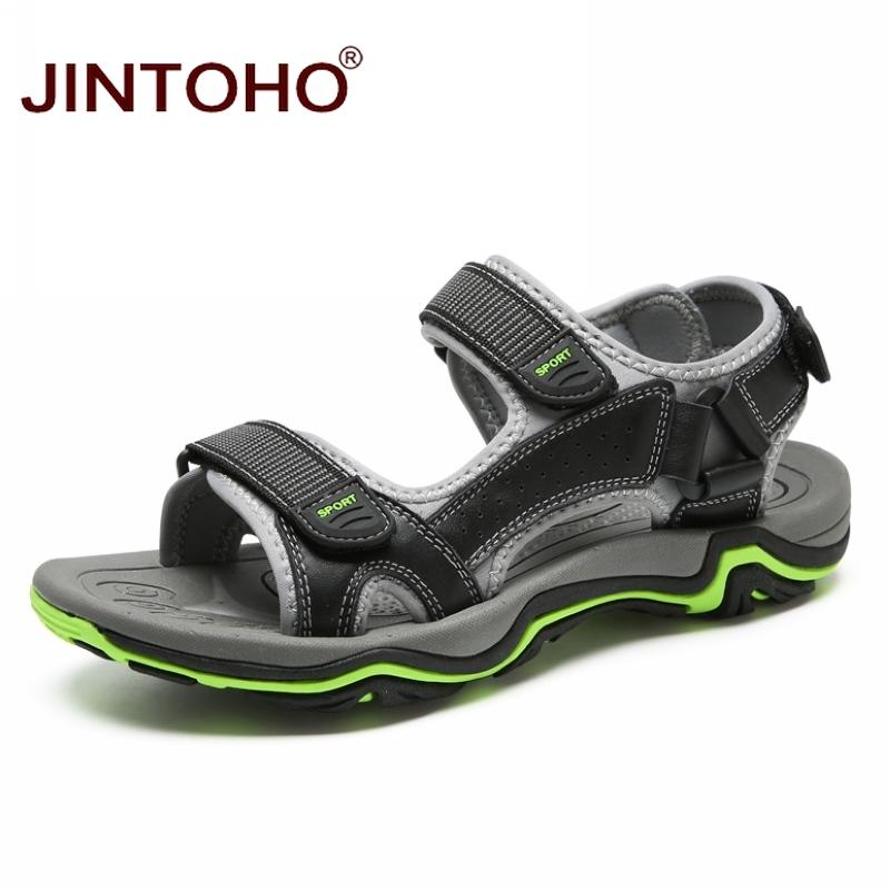 JINTOHO Hot Sale New Fashion Summer Leisure Beach Men Shoes High Quality Male Leather Sandals Casual Men Genuine Leather Sandals