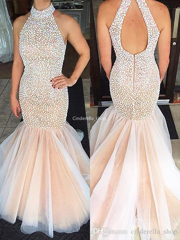 Luxury high Neck Mermaid 2019 Prom Dresses Rhinestones Beaded Hollow Back Sparkly Formal Evening Gowns Customized Vestidos De Noiva