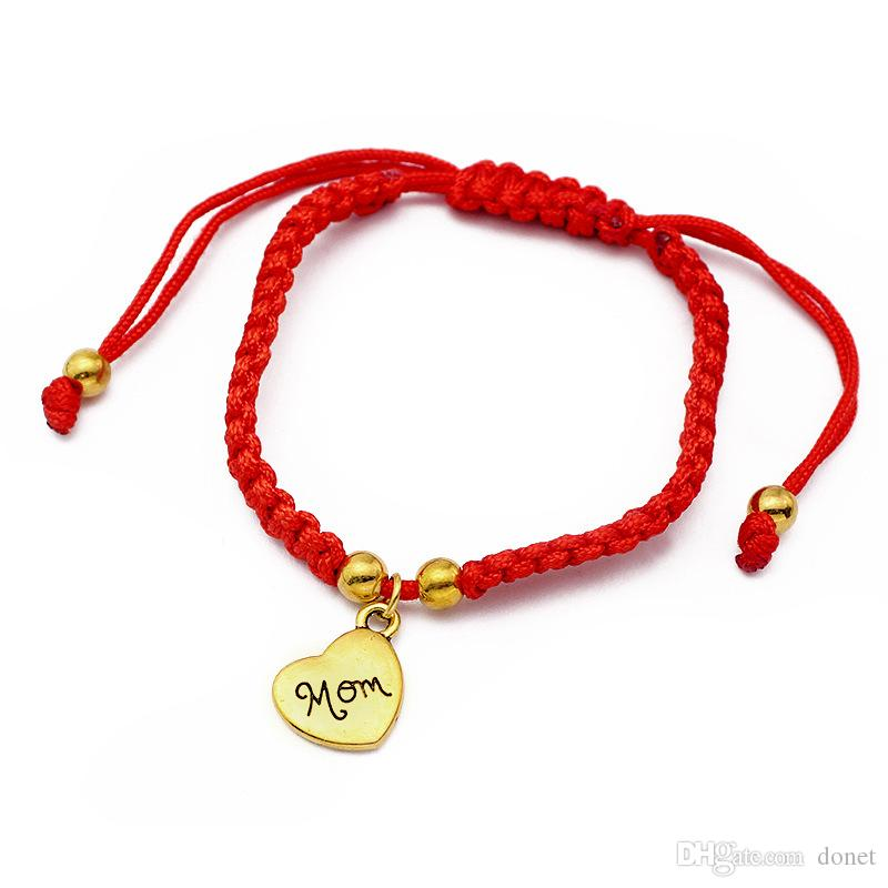 I Love You Mom Red Thread Bracelets Lucky Jewelry For Mum Charm Bracelets Mother's Day Gift Family Bless Bracelete