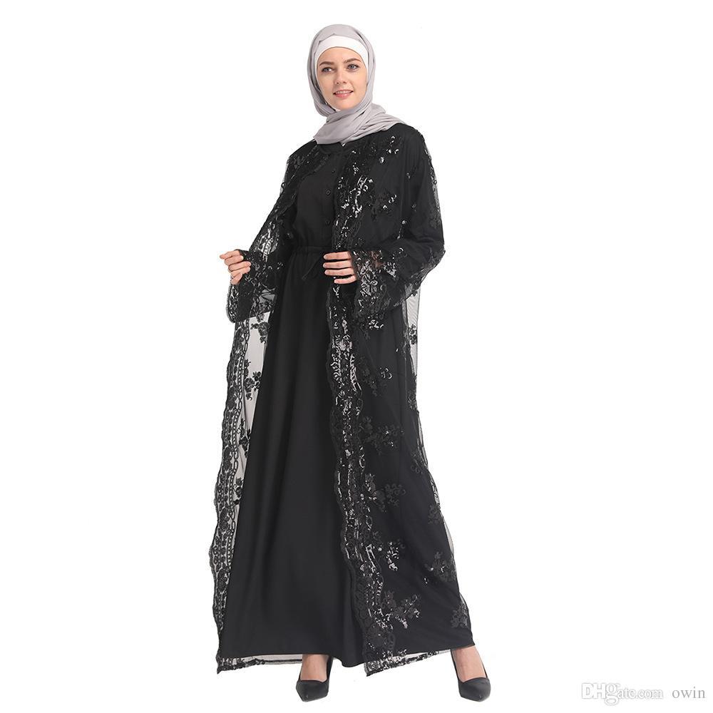 970e1197573 Sequin Dress Abaya Dubai Islamic Muslim Party Arabic Women Black Fashion  Open Front Kimono Long Maxi Cardigan Dress Kaftan Mesh Lace Dresses Dress  For A ...