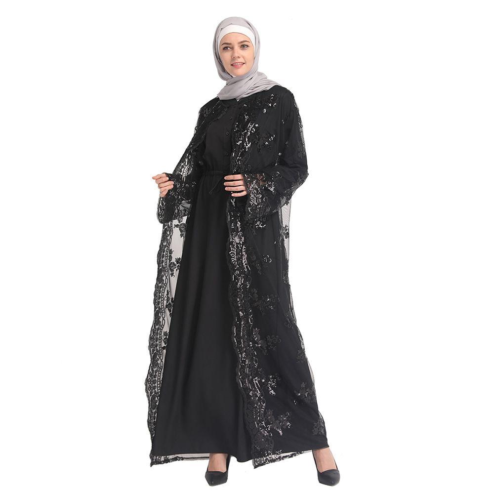 2a8bac3375 Compre Vestido De Lentejuelas Abaya Dubai Partido Musulmán Islámico Mujeres  Árabes Negro Moda Frente Abierto Kimono Vestido Largo Largo Cardigan Kaftan  Mesh ...