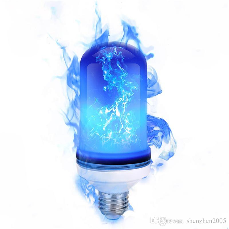 E27 LED Flame Effect Fire Light Bulb Flickering Emulation Light 3 Modes LED Blue Flame Lamp For Halloween Christmas Decoration
