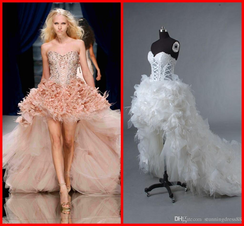 Discount Gorgeous Hi Low Feather Designer 2019 Wedding