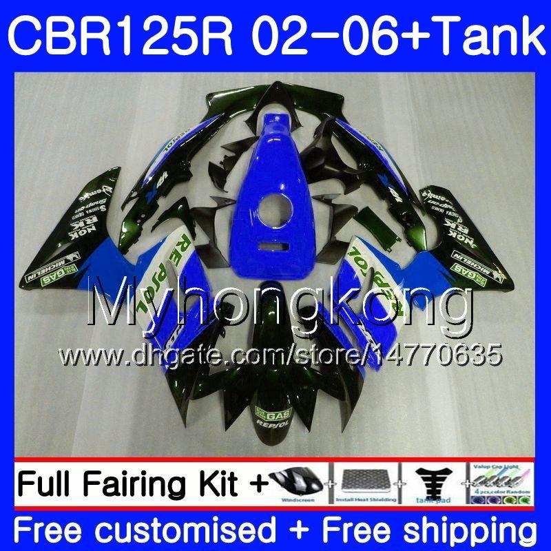 Body +Tank For HONDA CBR-125R CBR125R 2002 2003 2004 2005 2006 Repsol blue 272HM.47 CBR 125CC 125 R 125R CBR125RR 02 03 04 05 06 Fairings