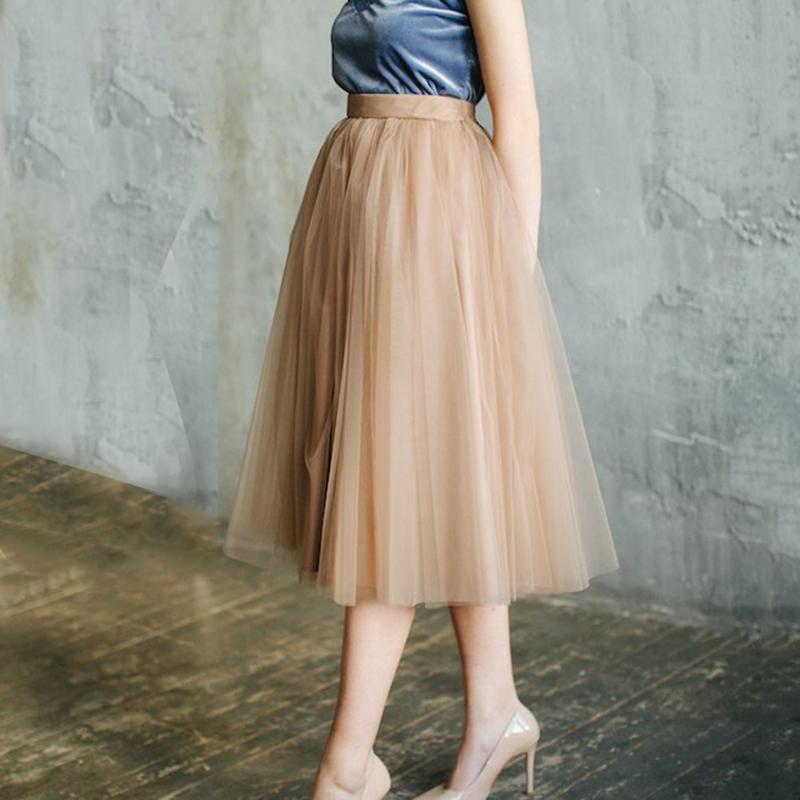 96c29805ce087e Custom Made femmes Brown Tulle Jupes Femmes 2019 Longue Maxi Jupe Femme  Élastique Taille Haute Plissée Jupe Tutu