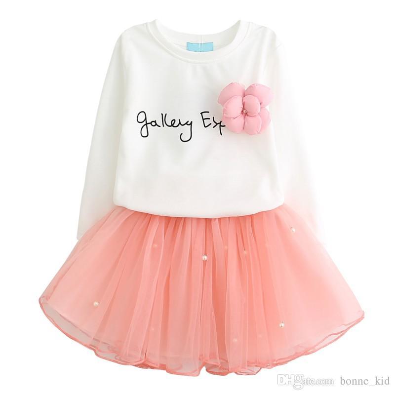 d80833c3c 2019 Spring Kids Girls Long Sleeve Shirt Pink Tutu Skirt Dresses Outfit  Wedding Party Kid Girl Clothes Princess Dress Children Clothing From  Bonne_kid, ...