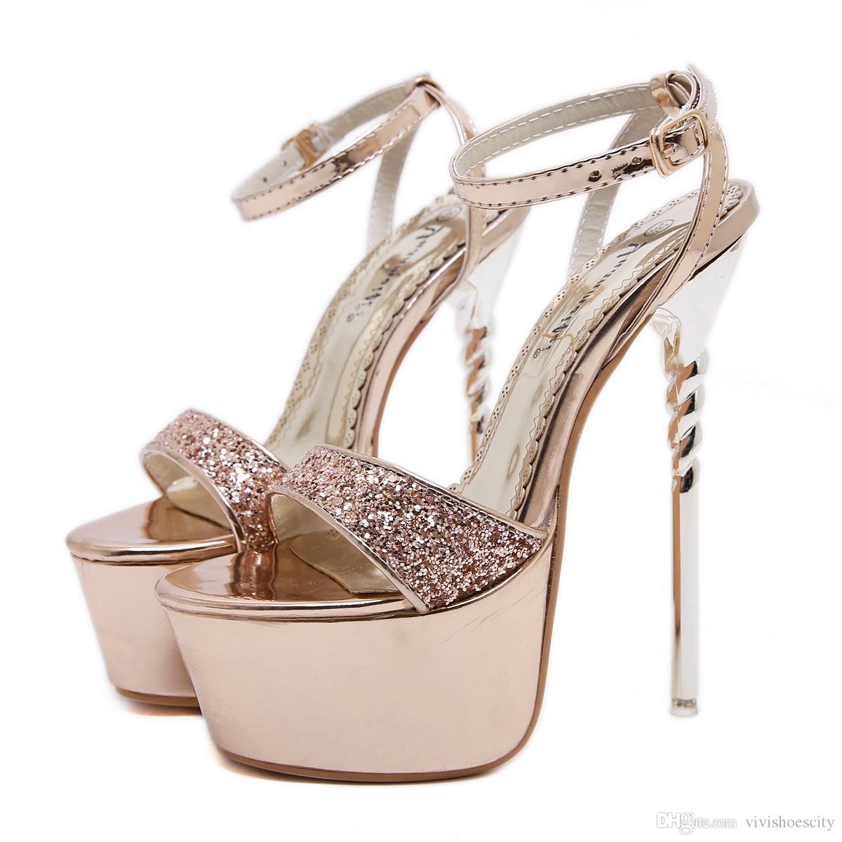 Plus Size 35 to 40 41 42 43 Glitter Gold Sequined Platform Ultra High Heels Luxury Women Designer Shoes 16cm Come With Box