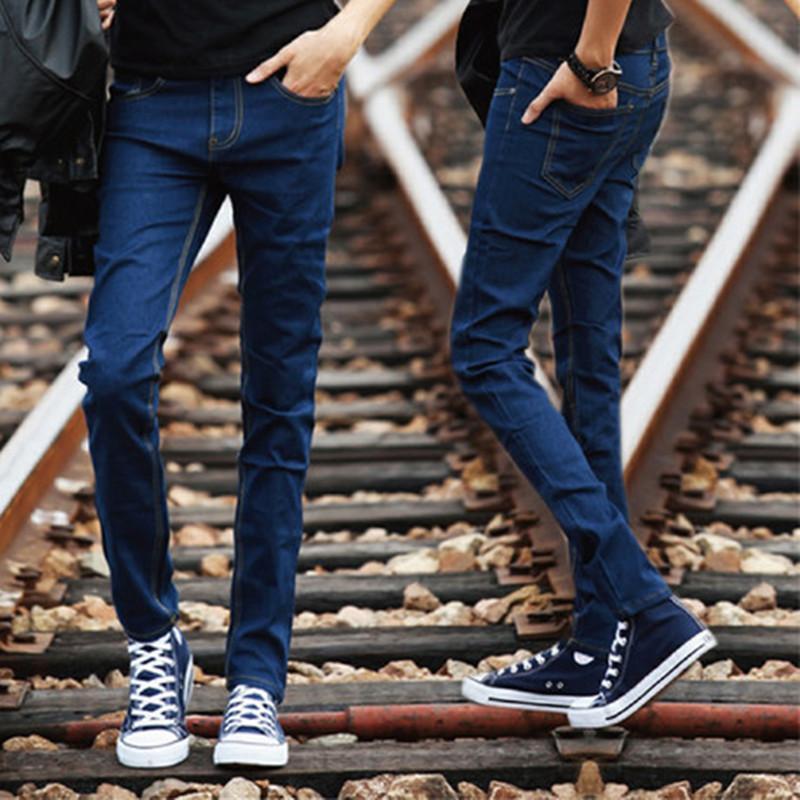 Compre Esquerda ROM 2018 Moda Masculina Boutique Azul Perna Fina Lazer Jeans    Homens De Alta Qualidade Pure Color Magro Calças Jeans Casuais Calças Dos  ... ed3cefa0b53