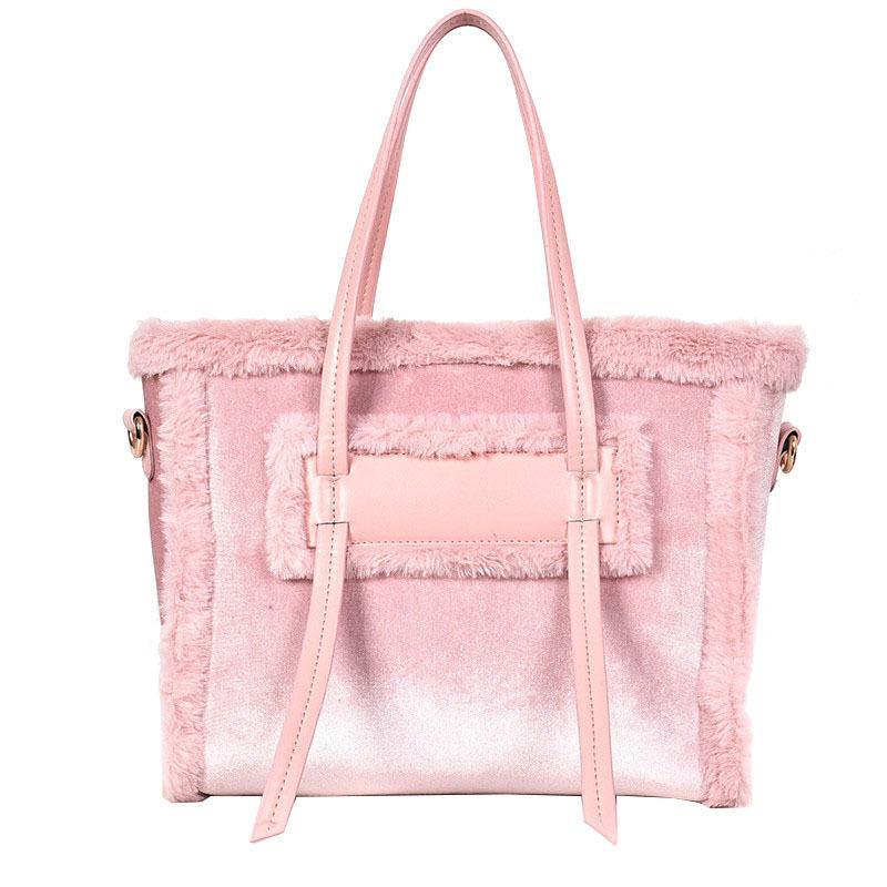 2019 Winter Fashion New Ladies Big Tote Bag High Quality Velvet Women S  Designer Handbag Stitching Plush Shoulder Messenger Bags Laptop Messenger  Bags ... 7e9ae6d096164