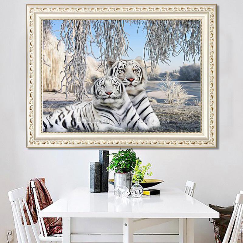 2019 DIY 5D Diamond Painting White Tiger Living Room Bedroom Cross ...