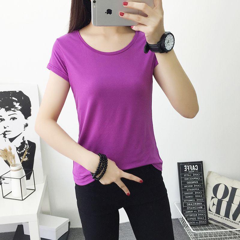 492925d30e647 2019 2018 Spring Summer O Neck Women Shirts T Shirts Women Tops   Tees  Basic Shirt Women T Shirt Cotton Solid Color From Qyzs001