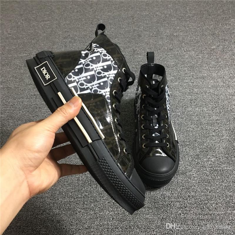 Taille Box Hot Chaussures Oblique Sneaker 44 Luxe Femmes Montantes New Original Baskets Dans Designer B23 Avec Mens Trainer 35 Rc34L5jAq