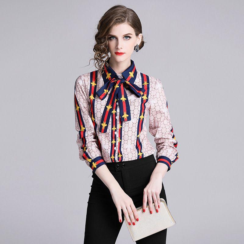 721b5c9a765367 Nova jaqueta de lapela primavera pequena abelha flor moda camisa de manga  longa mulher