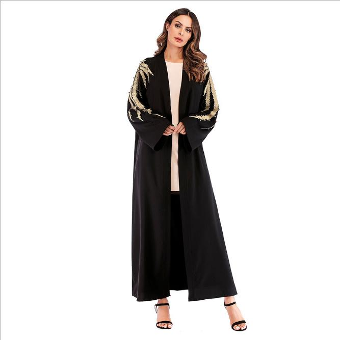 ee74872c9d9a2 Muslim Abaya Maxi Dress Beading Embroidery Cardigan Long Robe Gowns Jubah  Kimono Ramadan Arab Islamic Turkish Worship Service