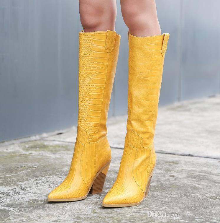 Small big size 33 to 42 to 46 trendy womens knee high cowboy boots pointed chunky heel designer shoes