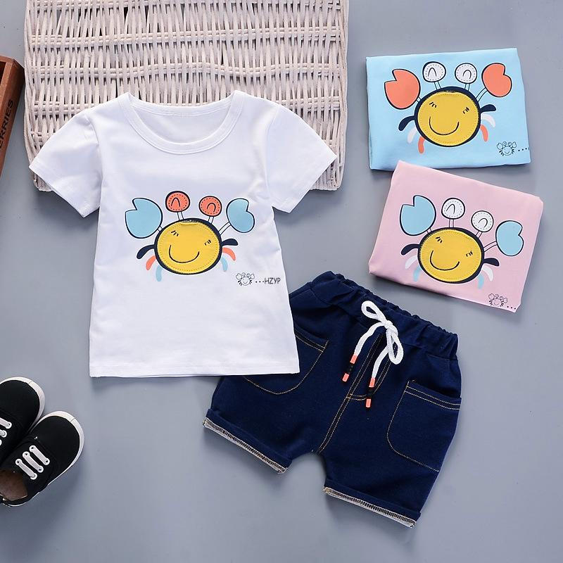 a996f2eb5b15 2019 Good Quality Baby Boys Clothes Set Kids Clothes Summer Boy New Cartoon  Cotton T Shirt+Denim Shorts Children Fashion Sportswear From Westbit16