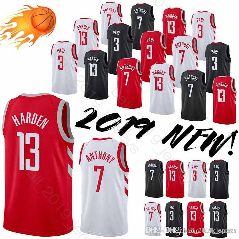 537f711fdca8e6 2019 13 Harden Jersey Houston Jersey Rockets 3 Paul 7 Anthony HOT SALE 2019  New Men Basketball Jerseys From Hulk sports