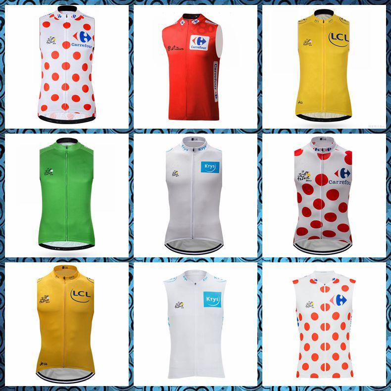 2019 New TOUR DE FRANCE team Cycling Sleeveless jersey Vest Summer Shirt Bicycle Clothes High Perfomance Tops U51019