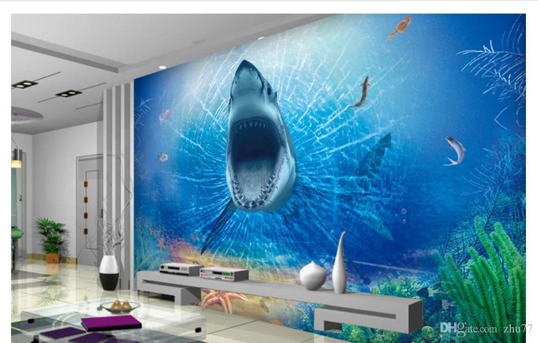 3D wallpaper custom photo silk mural wall paper HD 3d horrible great white shark children's room living room TV background wall stickers