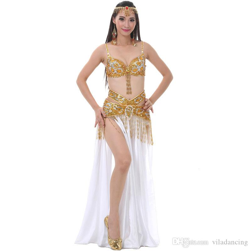 8626a890e Performance 2018 Danza del vientre ropa traje de baile oriental conjunto  (sujetador, cinturón, falda dividida) Mujeres traje de danza del vientre ...