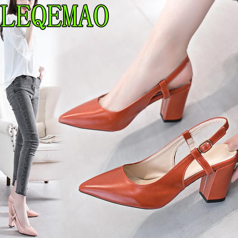 db6f1e0385e Dress Shoes Spring New Hollow Coarse Sandals High Heeled Shallow Mouth  Pointed Pumps Work Women Female Sexy High Heels 2019 Strappy Heels Geox  Shoes From ...