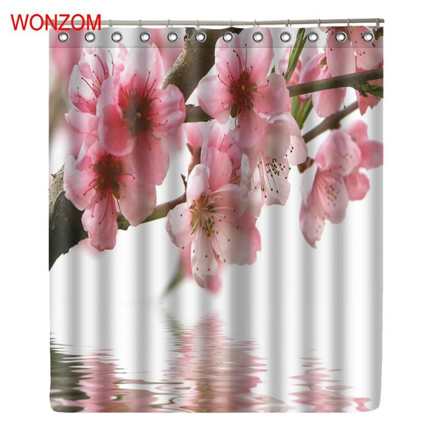 WONZOM Pflaumenblüte Moderne Rosa Blume Badezimmer Wasserdichte Accessoires  Duschvorhänge Mit Haken Bad Vorhang Hause Stoff Geschenk C18112201